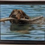 "Air brush dog with stick, ""Throw it Again"" by Liliana Thelander.."