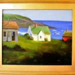 "Painting ""Wash Day on Monhegan"" in oil."